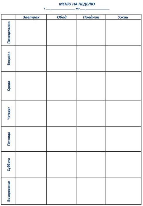 план питания для похудения на неделю таблица