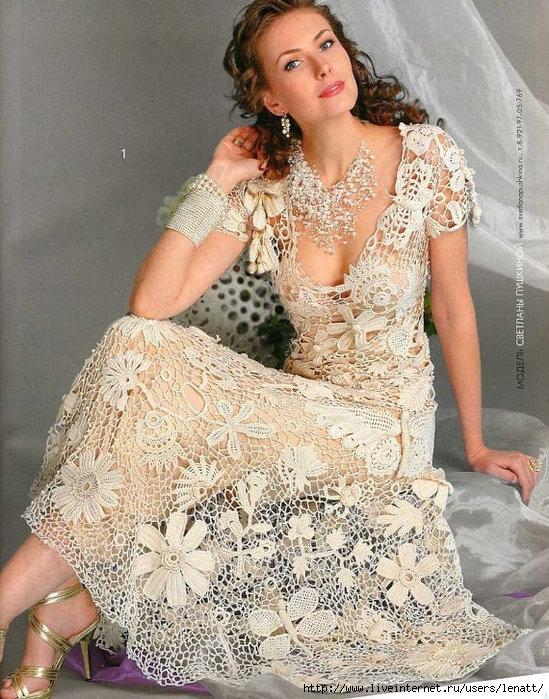 Вязанные свадебные платья крючком фото 6