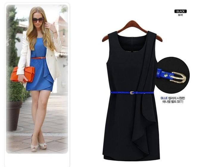 Черное платье с ремешком