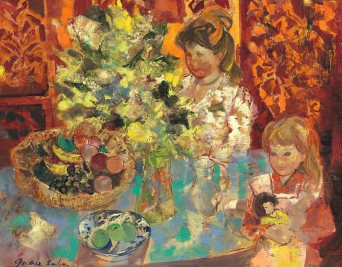 Interior with Flowers, Woman and Child, 1966 (700x545, 89Kb)