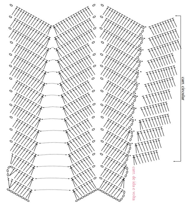 Вязание юбки зигзагами крючком