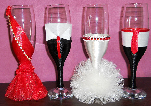 Украшение бокалов на новый год своими руками