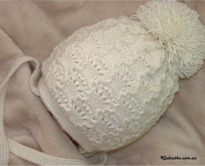 Вязание шапки для новорожденного двойная