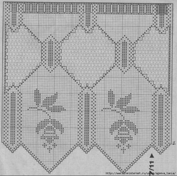 Филейное вязание шторы занавески схемы 94