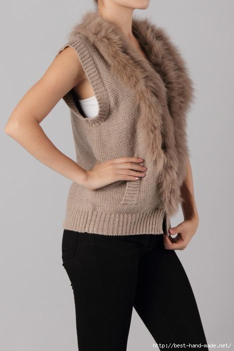 Fox Fur Trim Knitted Vest (4) (466x700, 122Kb)