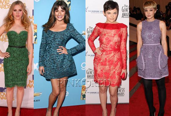 Короткие кружевные платья на знаменитостях (22 фото) .