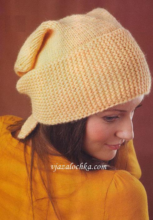 Вязание ажурного берета спицами для девочек