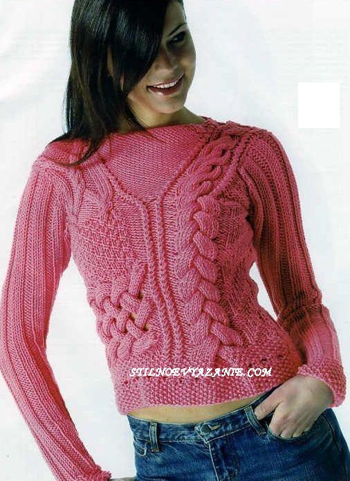Пуловер с косами и узором «