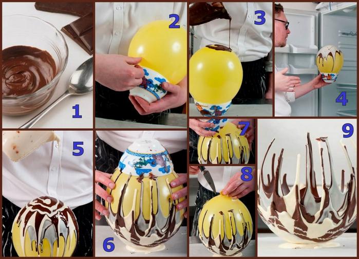 Как сделать вазу из шоколада и воздушного шара