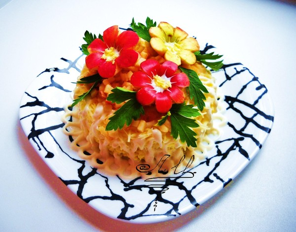 Украшение салатов к празднику