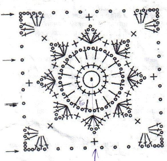 Вязание крючком квадрат простой схема 14