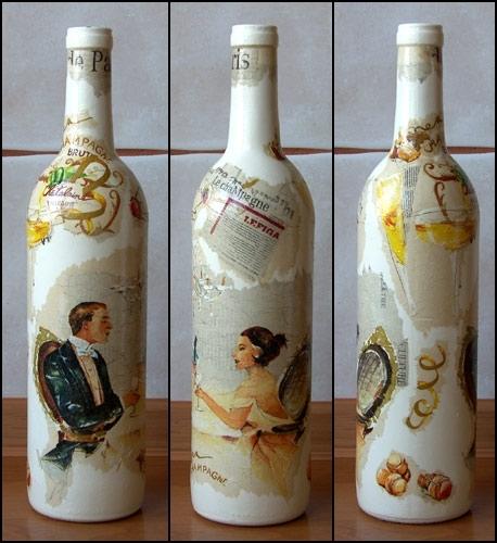 """Декупаж бутылок. . Фото Галерея мысляхХобби"