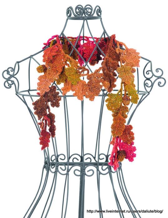秋季的橡木叶子围巾 - maomao - 我随心动