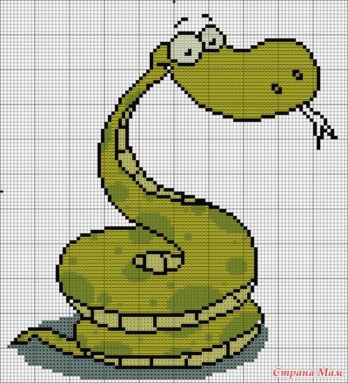 Вышивка крестом змея- отличная идея для подарка на Новый 2013 год!