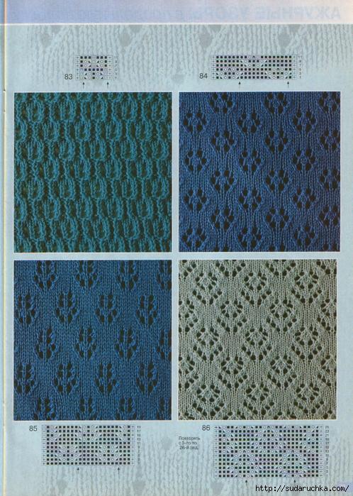 Вязание спицами мелкие узоры схемы