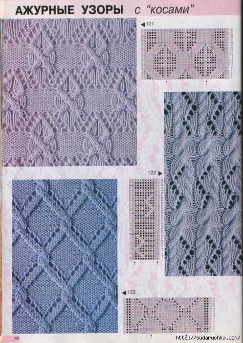 Сложные ажурные узоры для вязания спицами
