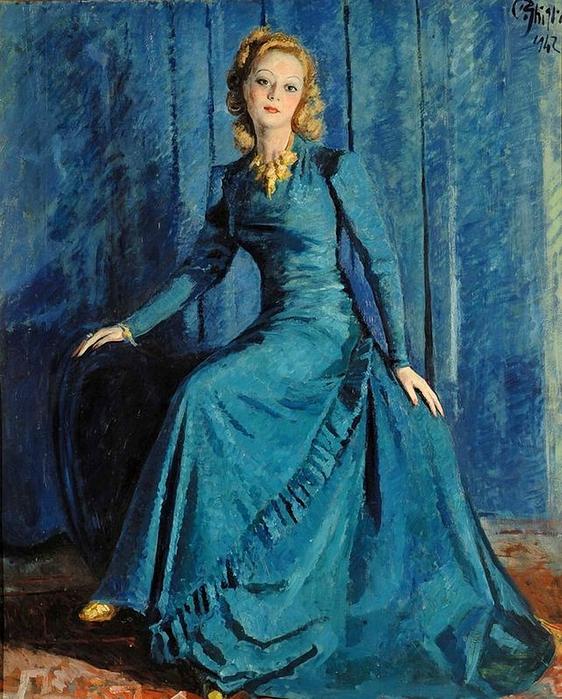 Paolo Ghiglia.Signora in blu, 1942 (562x700, 344Kb)