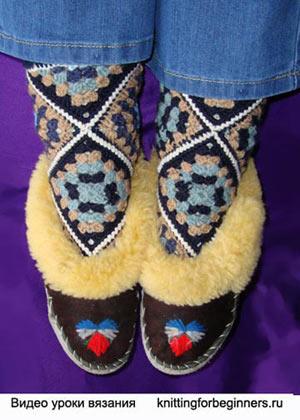 носки крючком, как вязать носки крючком, вязание носков, как связать носки, носки из мотивов, вязаные носки, вязание...