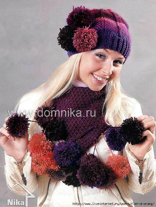 схема вязания шапки и шарфа