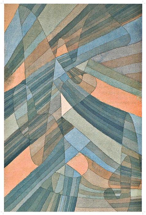 """Дюссельдорф, К20-21. Paul Klee, Polyphone Strömungen """"Полифонические потоки"""", 1929. Акварель, тушь, перо на акварельной бумаге, наклеено на картон 43,9 x 28,9 cm"""