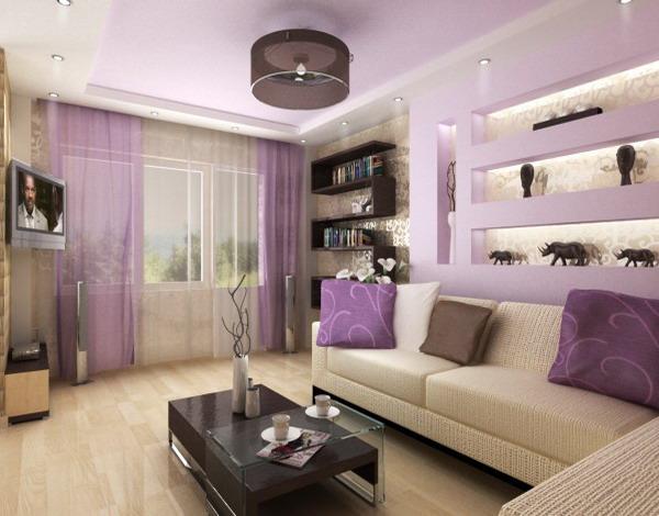 Фиолетовая гостиная фото