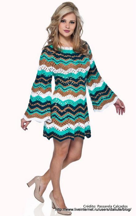Платье вязание спицами зигзаги