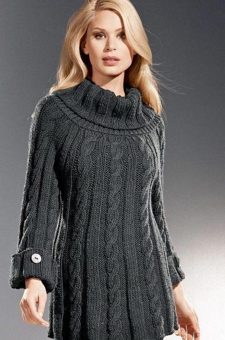 Модели вязанного платья туники