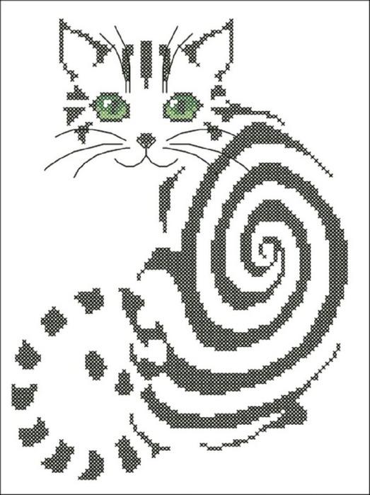 Вышивка крестом монохром коты.