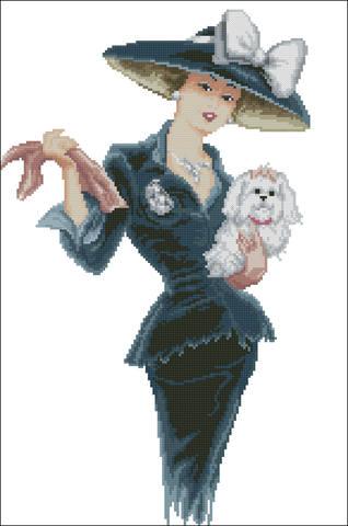 Вышивка крестом.дама с собачкой