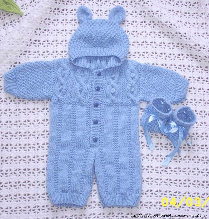 Вязание спицами для малышей костюмчик до года 959
