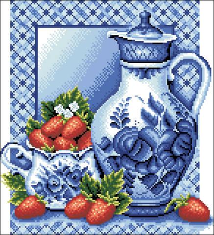 Наборы для вышивания крестиком Панна: клубника со сливками.