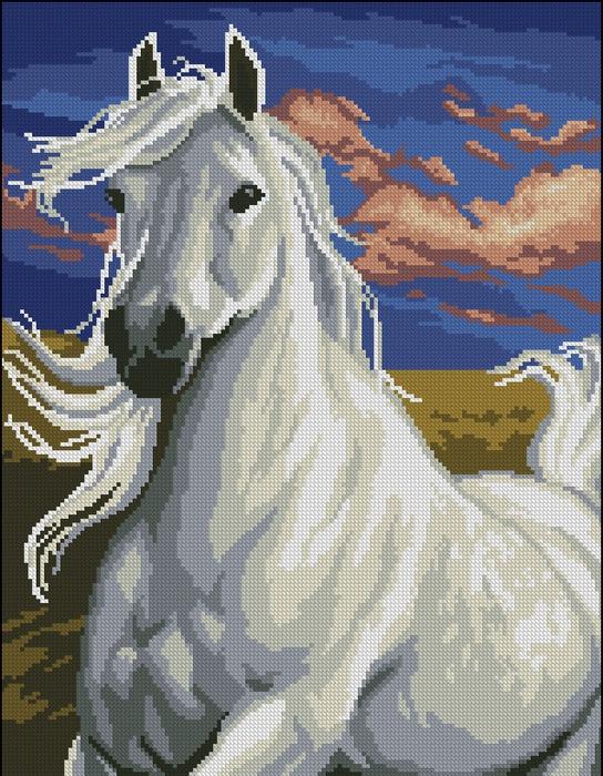Вышивка.Лошадь Белая молния.