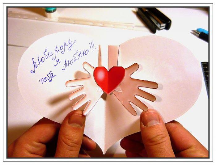 как сделать самой открытку: