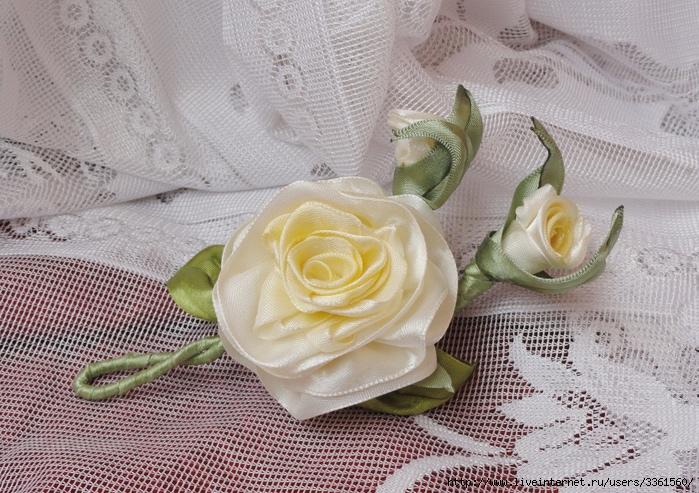 Бутоньерка для жениха из атласной ленты своими руками