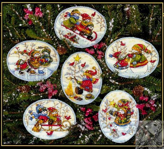 Playful  Snowmen  Ornaments (573x519, 117Kb)