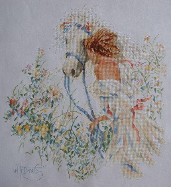 Девушка с лошадью(вышивка крестом,схема) .