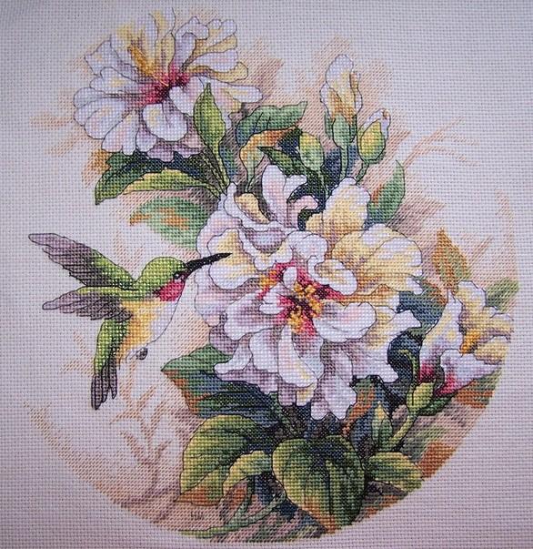 Колибри с цветком(вышивка