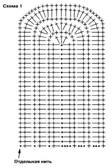 Основная деталь варежки: Вяжите по схеме 1. 1-й ряд: наберите цепочку из 23 возд. п. 2-й ряд: 3 возд.п. подьема...