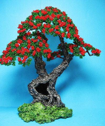Цветущий бонсай из бисера мастер класс фото