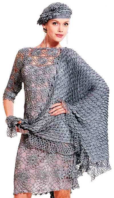 Вот такую интересную модель вечернее платья, связанного из мотиво…