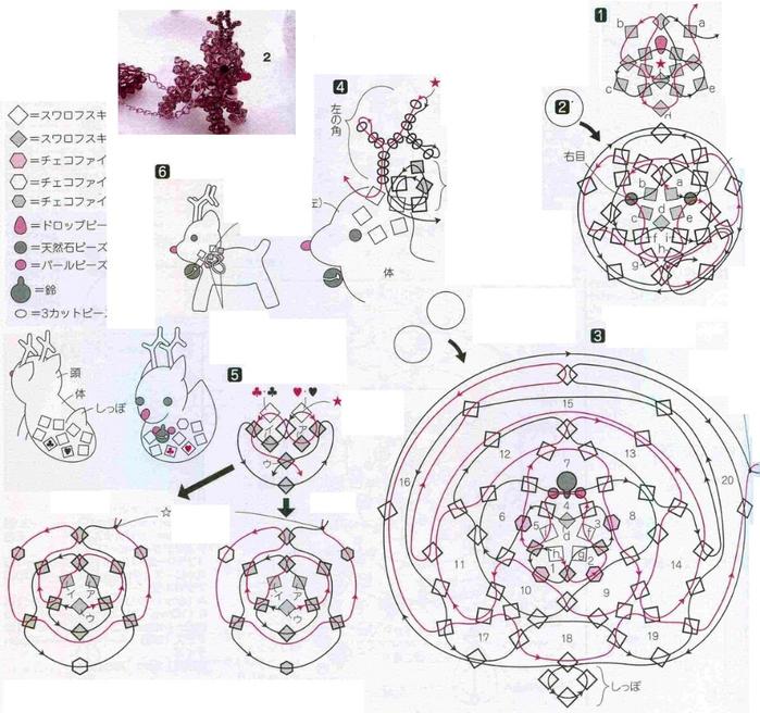 схема плетения оленя из бусин. плетение оленя из кристаллов.