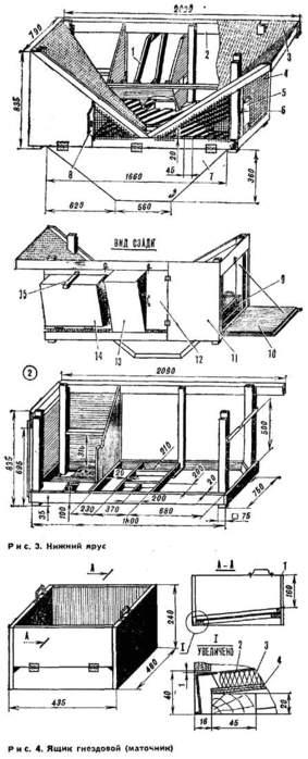 3 - вентиляционная трубка.  4 - стенка комбикормушки, 5 - крыша клетки, 6 - дверь, 7 - люк шахты, 8, 10 - двери-ясли...