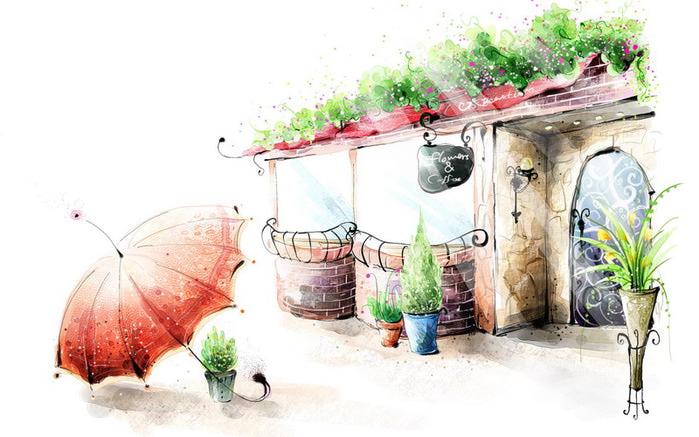 hd обои кафе, ваза, перила, Рисунок, горшки, цветы, зонтик 640 x 480 для рабочего стола бесплатно скачать.