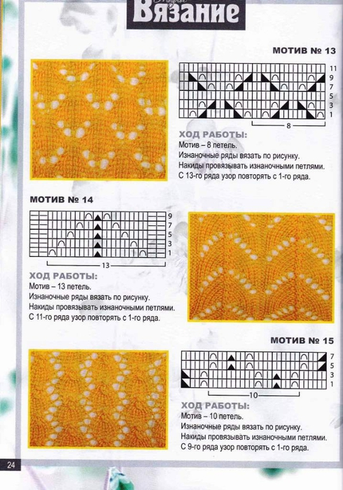 Простые узоры для вязания спицами с накидами схемы и