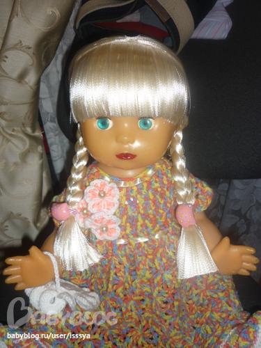 Как для вязаной куклы сделать из атласной ленты волосы