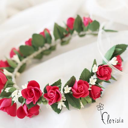 Венок из искусственных роз на голову своими руками