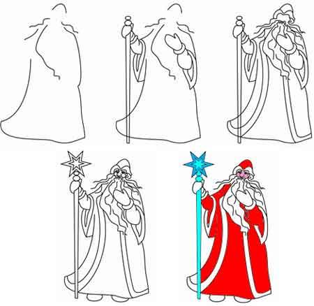 Учимся рисовать Деда Мороза.
