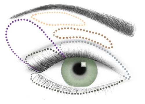 Вечерний макияж для зеленых глаз. на внешнюю треть века от ресниц к складке. * Эти же тени нанесите на нижнее веко...