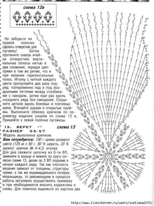 Подробные схемы вязания крючком берет