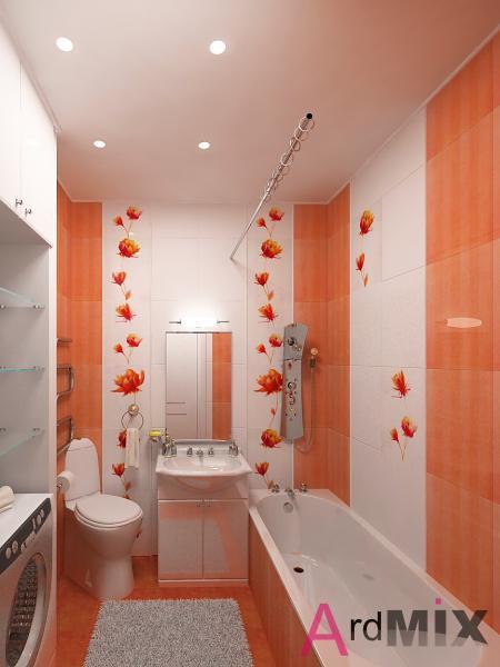 Оранжевая ванная комната дизайн маленькая